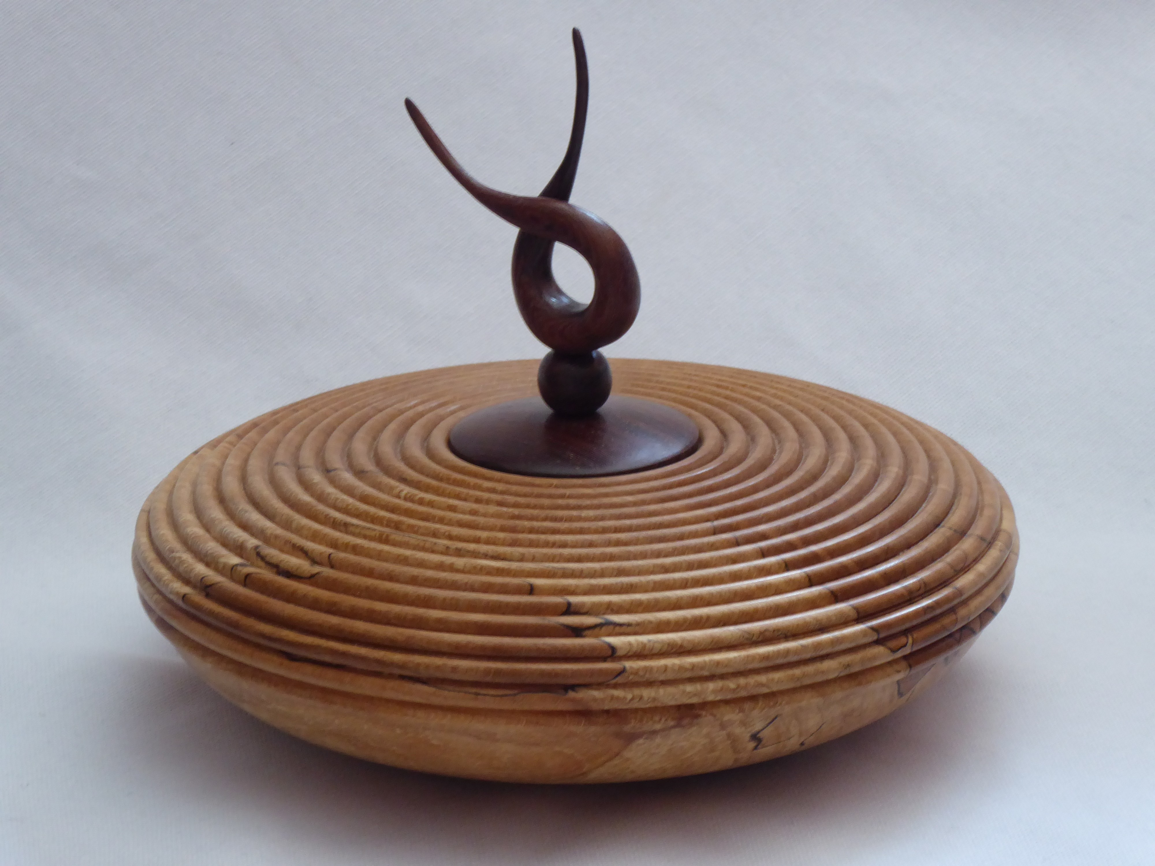 Beaded Hollow Form with Lid and Finial